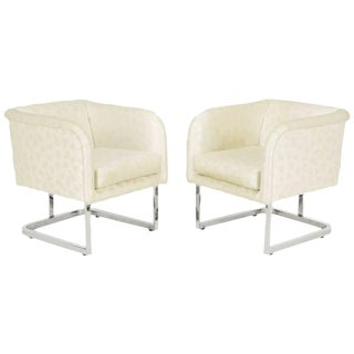 Pair of Milo Baughman Nickel and Ivory Glazed Cotton Print Club Chairs For Sale