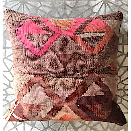 Kilim textile pillow from Amsterdam. Cotton fabric backing with zipper enclosure.