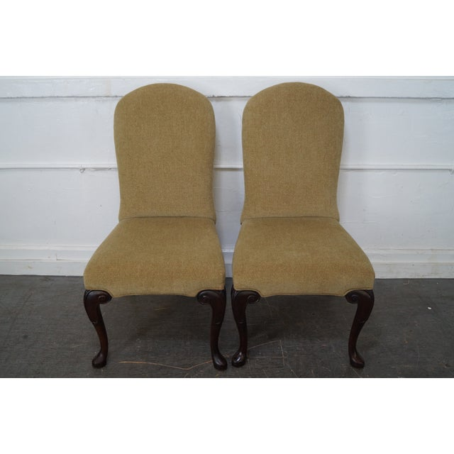 High quality, American made set of 4 solid wood frame traditional dining chairs with clean upholstery. AGE/COUNTRY OF...