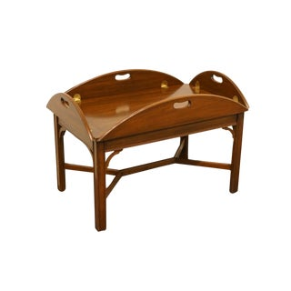 20th Century Traditional Henkel Harris Solid Wild Black Cherry Butler's Coffee Table For Sale