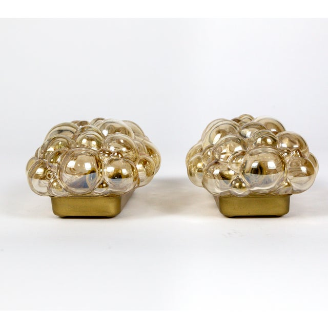 Oblong Translucent Amber Glass Bubble Sconces by Helena Tynell (Pair) For Sale In San Francisco - Image 6 of 10