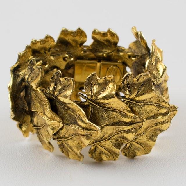 Gold Sonia Rykiel Paris Link Bracelet Massive Gilt Metal Textured Leaves For Sale - Image 8 of 9