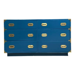 Dixie Campaigner Blue Lowboy Dresser For Sale
