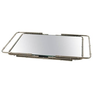 French Mid-Century Modern Chrome Serving Bar Cocktail Mirror Tray Bamboo Design