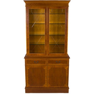 1960s Georgian Yew Wood Glass Door Breakfront Bookcase China Cabinet For Sale