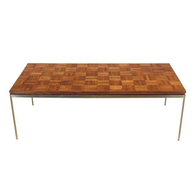 Large Brass Rectangle Base Parquet Top Coffee Table For Sale