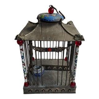 Vintage Metal & Enamel Dragon & Phoenix Chinese Cricket Cage For Sale