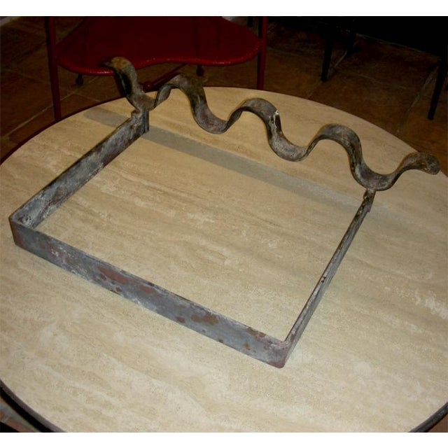 "Jean Royère Jean Royère1950s Wrought Iron Andiron Model ""Vague"" For Sale - Image 4 of 5"