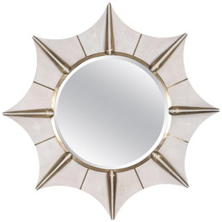 Star Mirror in Cream Shagreen and Bronze-Patina Brass by R & Y Augousti For Sale