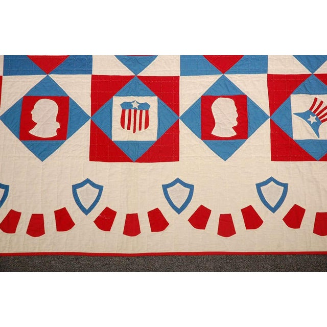 Rare Patriotic Presidential Applique Quilt from 1925 For Sale - Image 9 of 9