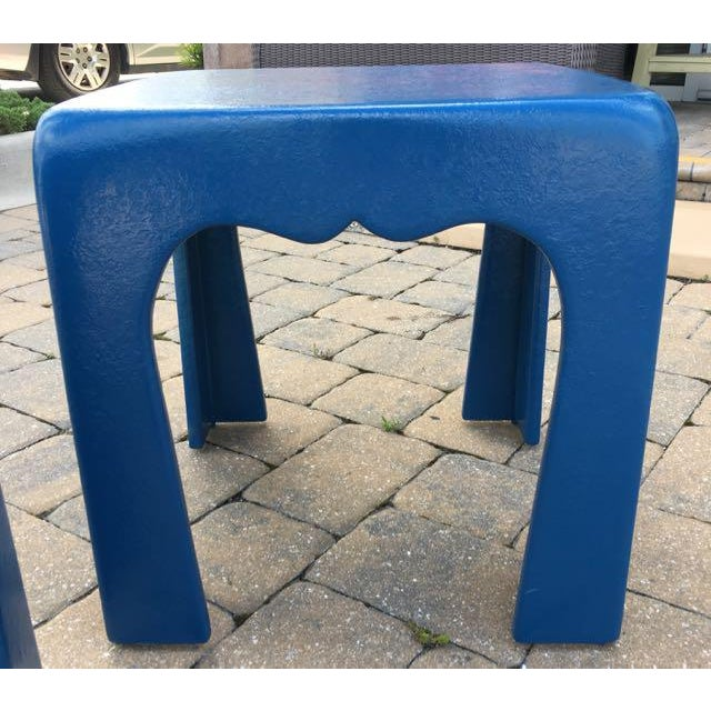 1970s Vintage Blue Fiberglass Occasional Tables - A Pair For Sale - Image 5 of 13