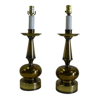 Mid Century Modern Round Brass Orb Table Lamps - - a Pair For Sale