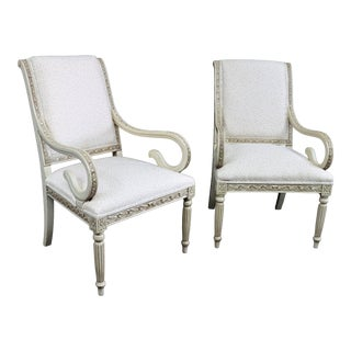 Regency Style Cream Leopard Print Arm Chairs - a Pair For Sale