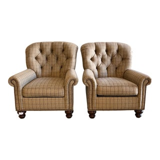 Pearson Plaid Tufted Chairs - A Pair