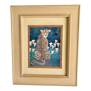 Cougar or Cheetah in a Field of Flowers Illustration For Sale