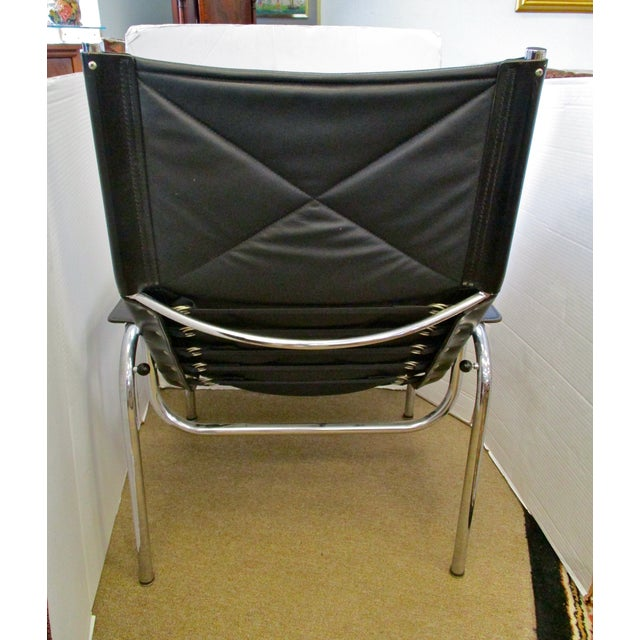 Black and Chrome Mid-Century Chair - Image 5 of 6