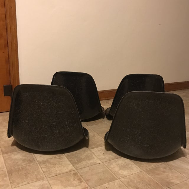 Eames Black Shell Chairs - Set of 4 - Image 5 of 11
