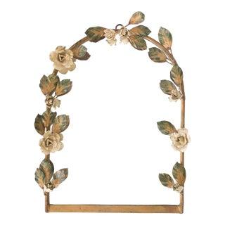 Mid-Century Italian Tole Roses Mirror For Sale