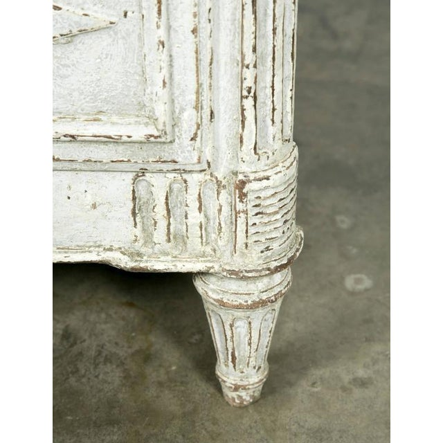 Gray French Louis XVI Period Painted Faux Marble Top Commode Chest of Drawers For Sale - Image 8 of 10