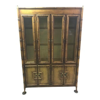 Stanley Fauxbamboo Cane Lighted China Cabinet For Sale