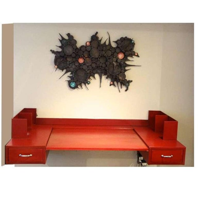 1960s Large Scaled Mid-Century Wall Sculpture in Blackened Steel and Ceramic, France circa 1965 For Sale - Image 5 of 5