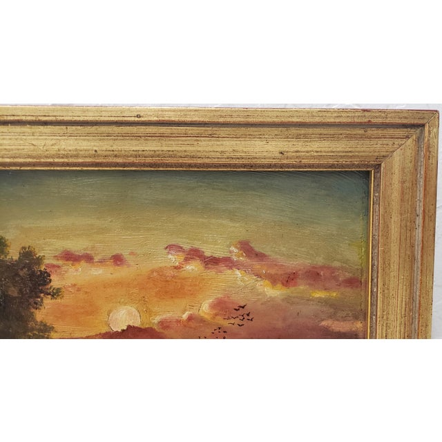19th Century Luminous Sunset Over Mountain Lake Oil Painting For Sale In San Francisco - Image 6 of 10