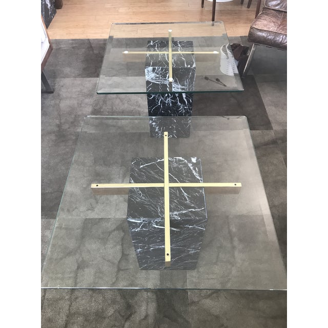 Contemporary Artedi Nero Marquina Marble Side Tables - A Pair For Sale - Image 3 of 10