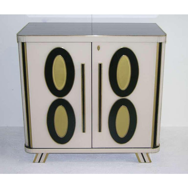 1970s Italian Art Deco Gold Black and White Cabinets or Sideboards - a Pair For Sale In New York - Image 6 of 11