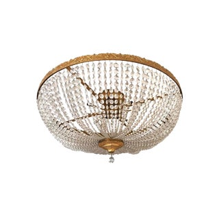 Newport RI Mansion Size Bronze and Crystal Basket Chandelier For Sale