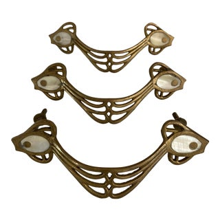 Brass and Mother of Pearl Drawer Pulls - Set of 3 For Sale