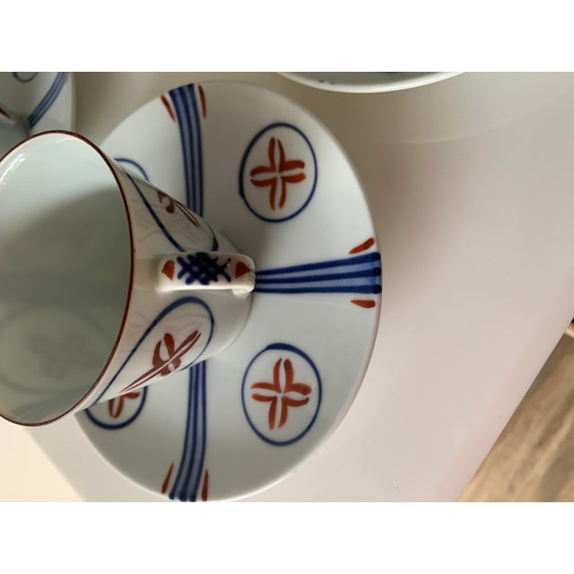 Mid Century Japanese Tea Cups and Saucers - Set of 6 For Sale - Image 11 of 13
