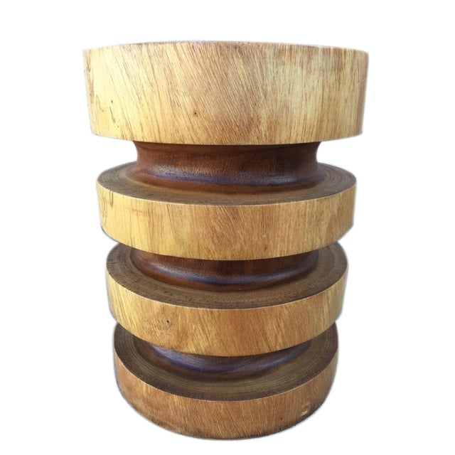 Asian Asian Modern Style Natural Wood Ring Stool/End Table For Sale - Image 3 of 3