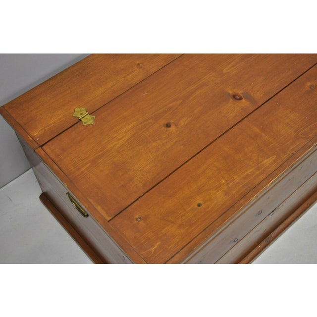 Large Vintage Knotty Pine Wood Blanket Chest Trunk Storage For Sale - Image 4 of 12
