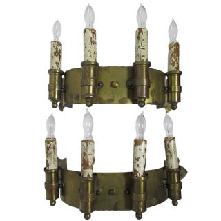 Brass Four Candle Sconces - a Pair