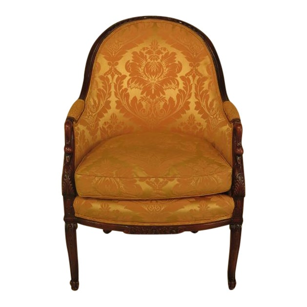 Vintage Swan Carved Arm Upholstered Chair