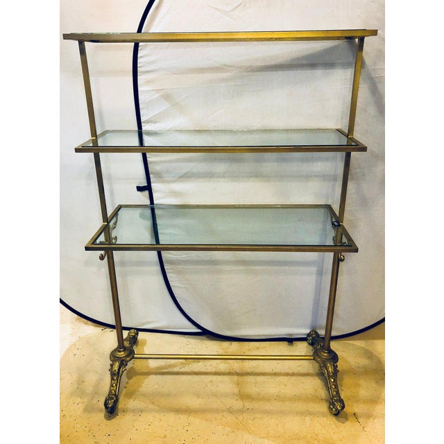 Hollywood Regency Three-Tier Large Bakers Rack Gilt Metal and Glass Shelves For Sale - Image 10 of 10