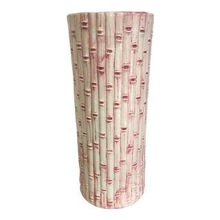 Vintage Pink & White Bamboo Ceramic Umbrella Stand