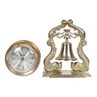 Chelsea Ships Clock & Brass Ships Bell - Set of 2 For Sale