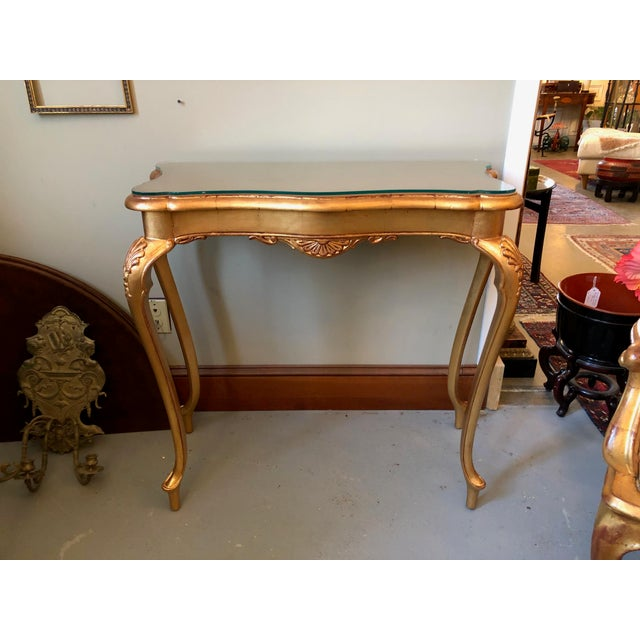 1900s French Gilt Leaf Turn of the Century Console Table For Sale - Image 12 of 12