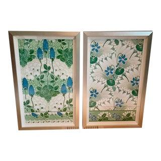 Framed Vintage Wallpaper Panels - a Pair For Sale