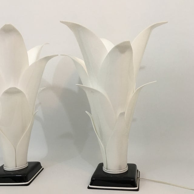 Rougier Rougier Palm Leaf Lucite Lamps- a Pair For Sale - Image 4 of 13