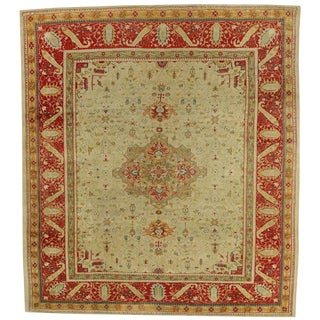 Antique Turkish Oushak with Traditional Modern Style For Sale