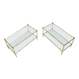 Pair of Rectangle Heavy Gage Brass Faux Bamboo Coffee Occasional Tables For Sale
