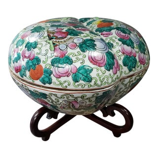 Mid 20th Century Chinese Famille Rose Canton Porcelain Peach Form Presentation Box on Wood Stand For Sale