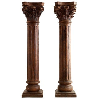 Pair of Neoclassical Corinthian Style Solid Teak Columns