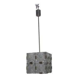 Mid Century Kalmar Glass Cube Pendant Light For Sale