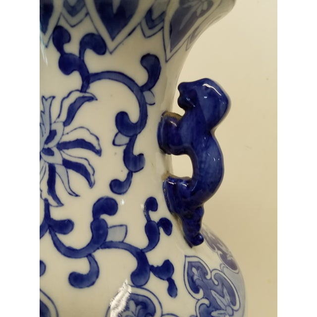 Pretty Hand Painted Chinese Blue and White Vase with a bird on one side and floral on the other side. Please refer to...