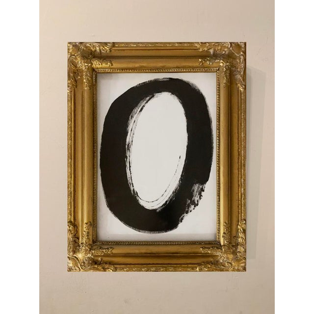 This original black acrylic painting is inspired by the mid-century masters. Framed in an ornate gold frame with a white...
