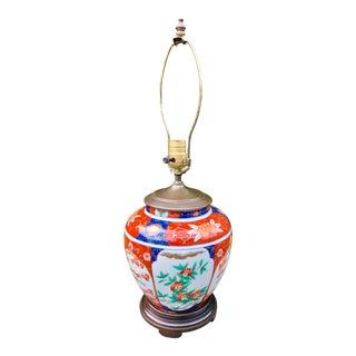 1960s Chinoiserie Imari Porcelain Vase Lamp For Sale