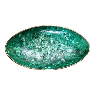 1960s Vintage Italian Polished Green Marble Oval High Sided Brass Bowl For Sale
